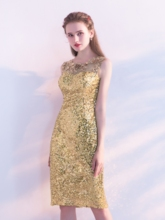 Sheath Sequins Scoop Appliques Knee-Length Homecoming Dress