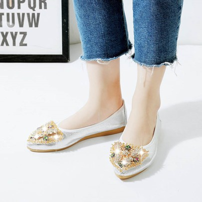 Rhinestone Pointed Toe Animal Plain Slip-On Women's Flats Shoes