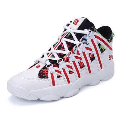 color block print mesh thread lace-up lovers athletic shoes