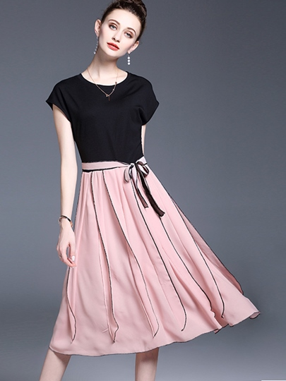 Pink Cap Sleeve Lace up Women's Day Dress
