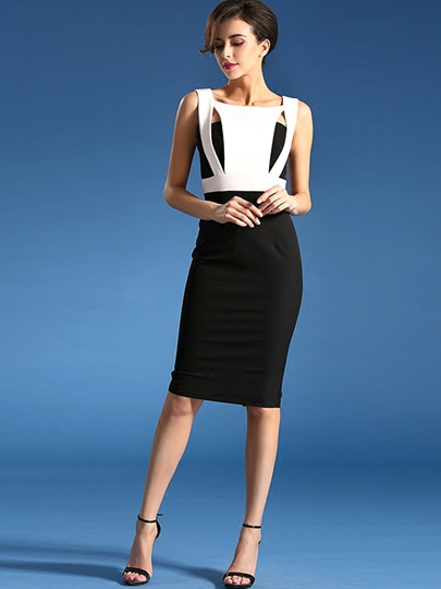 Double-Layered Backless Women's Sheath Dress