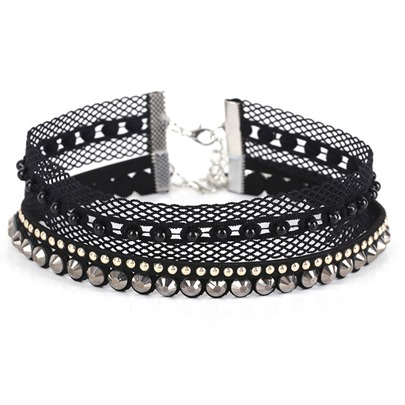 Diamante Lace Rhinestone Alloy Torques Choker Necklace