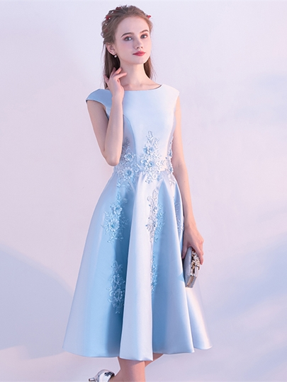 A-Line Bateau Embroidery Cap Sleeves Tea-Length Homecoming Dress