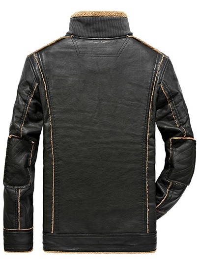 Stand Collar Multi Pocket Warm Men's Faux Leather Jacket