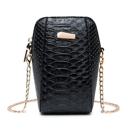 Vertical Shape Croco-Embossed Cross Body Bag