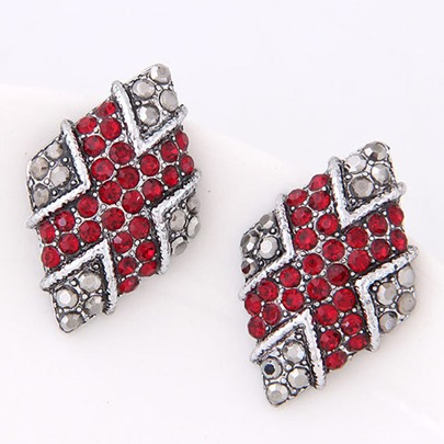Alloy Diamante Rhombus Personalized Vintage Earrings