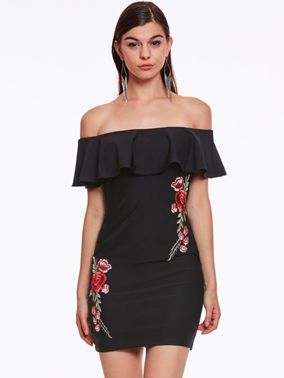 Embroidery Slash Neck Women's Party Dress