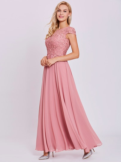 Scoop Neck Lace Appliques A Line Prom Dress