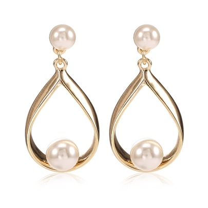 Korean Style Simple Pearl Water Drop Alloy Earrings