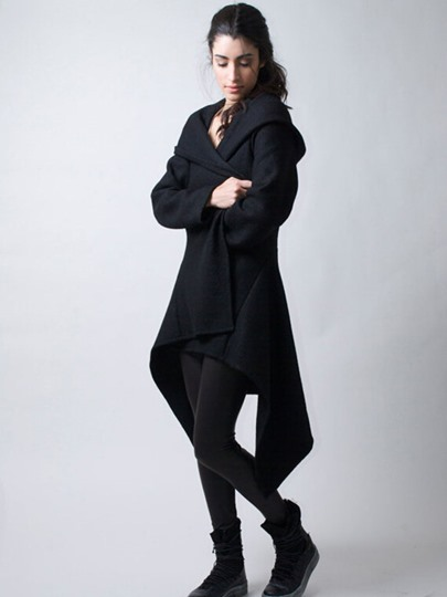 Hooded Solid Color Asymmetric Women's Trench Coat