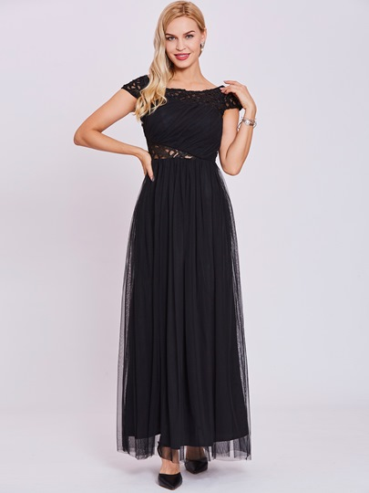 Bateau Neck Hollow A Line Evening Dress