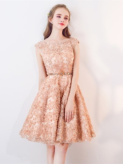 Cap Sleeves A-Line Bateau Lace Sashes Sequins Knee-Length Homecoming Dress