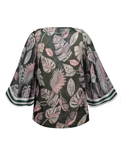 Round Neck Plant Print Vacation Flare Sleeve Women's Blouse