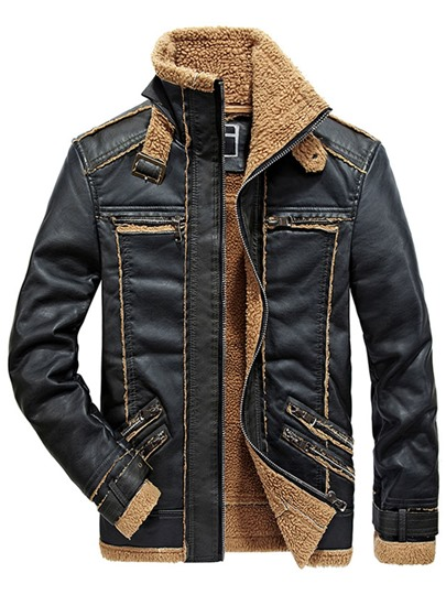 Zipper Patchwork Worn Warm Men's Leather Jacket