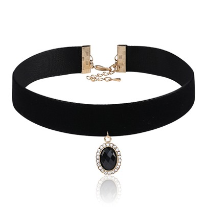 Diamante Rhinestone Black Rope European Torques Choker Necklace