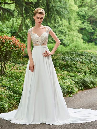Cap Sleeves Backless Appliques A-Line Wedding Dress