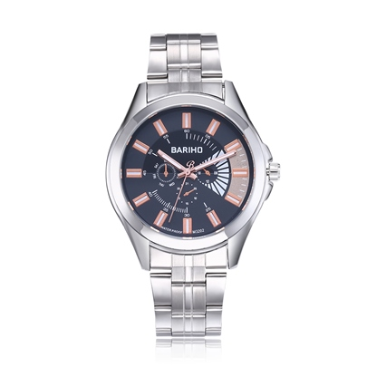 Glass Analogue Display Alloy Quartz Stainless Steel Men's Watches