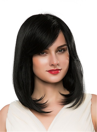 Short Wavy 100% Human Hair Capless Wig 14 Inches