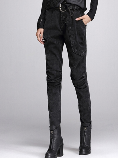 Black Slim Denim Patchwork Women's Jeans