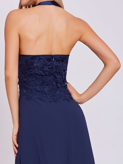 Halter Neck Zipper-Up A Line Evening Dress