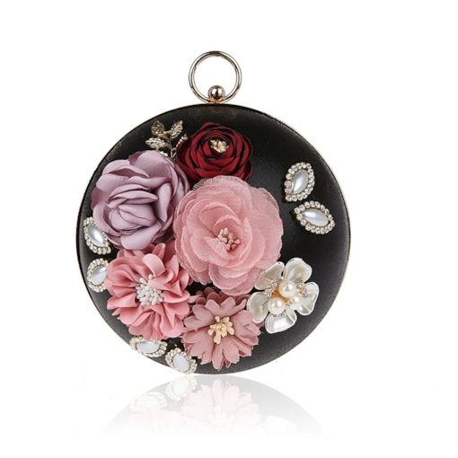 Floral Rhinestone Decoration Evening Clutch