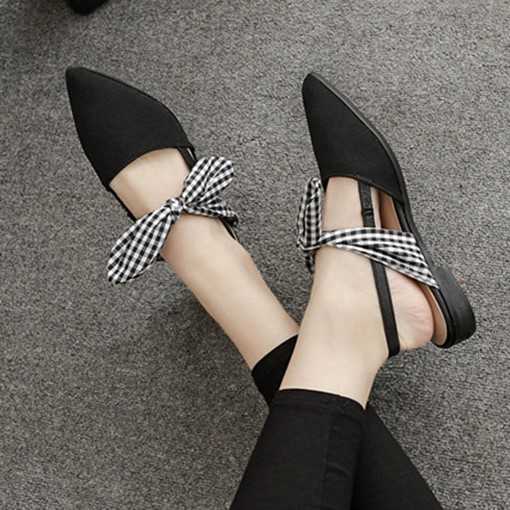 Slingback Strap Block Heel Slip-On Bow Plaid Women's Flat Sandals
