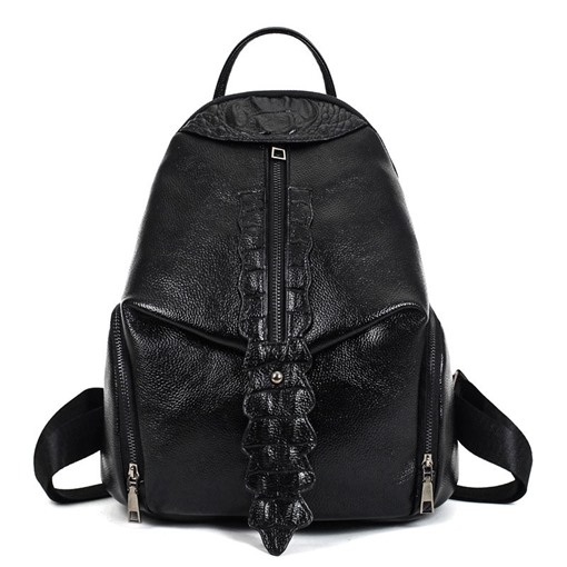 Solid Color Croco-Embossed Women Backpack