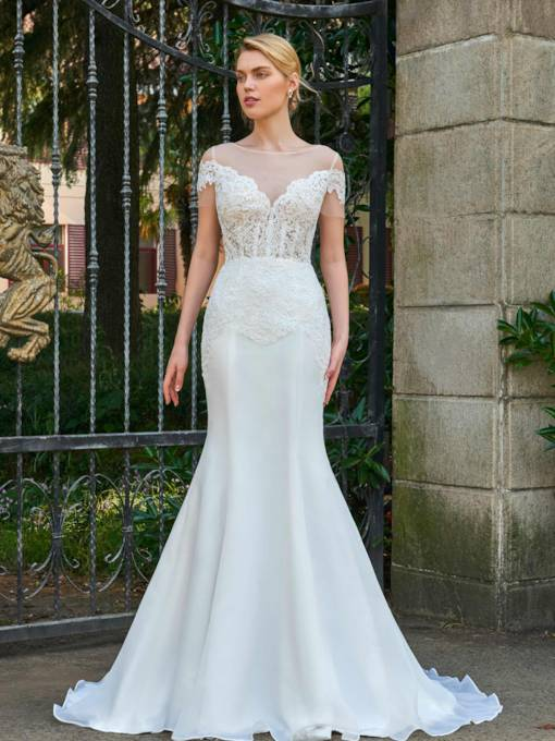 Short Sleeves Appliques Bateau Neck Mermaid Wedding Dress