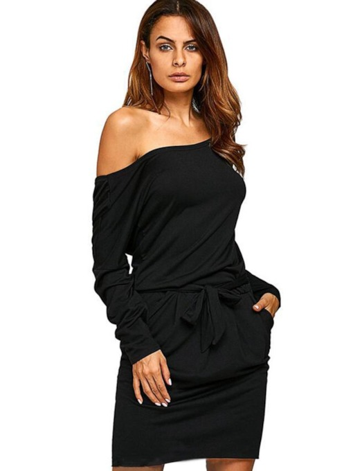 Bowknot Off Shoulder Pullover Women's Long Sleeve Dress
