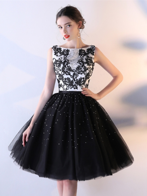 Bateau A-Line Appliques Beaded Rhinestone Homecoming Dress