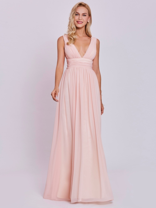 V Neck Backless Pleats A-Line Evening Dress