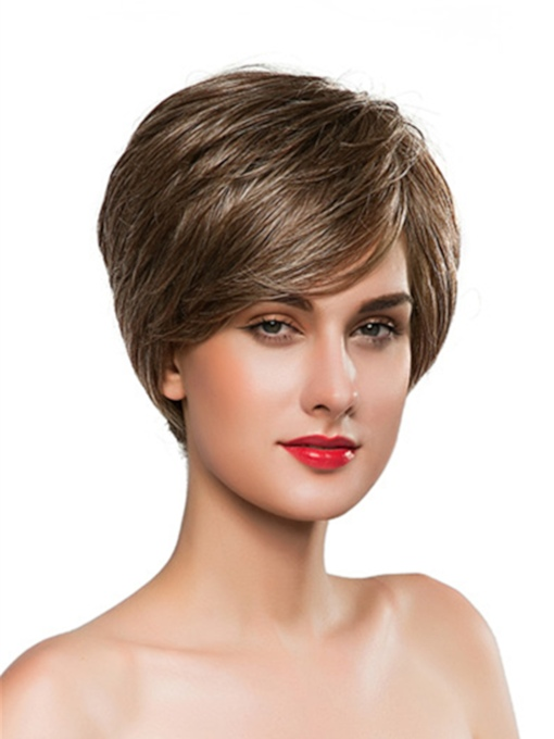 Short Cut Straight Human Hair Capless Wig 10 Inches
