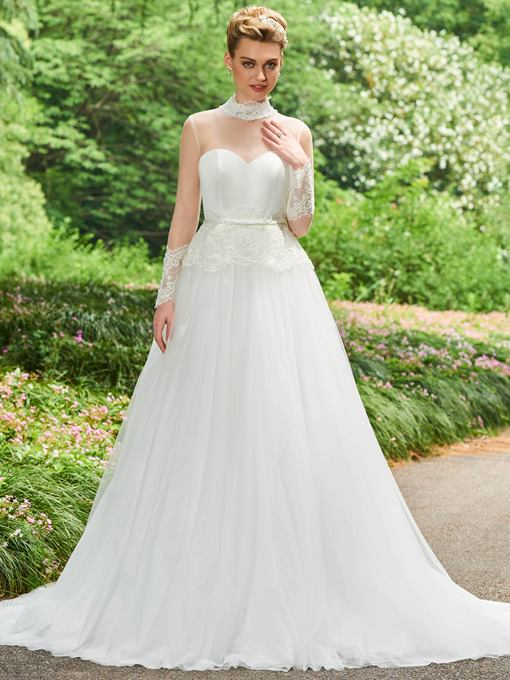 High Neck Appliques Beaded A-Line Wedding Dress