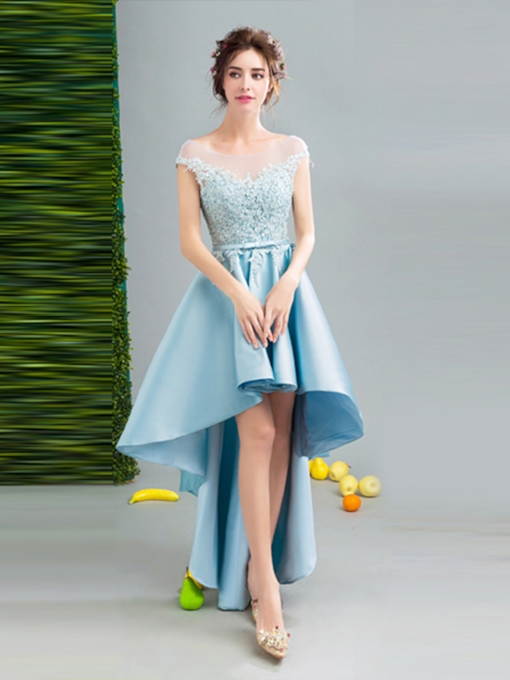 A-Line Cap Sleeves Appliques Bowknot Sashes Bateau Asymmetry Homecoming Dress