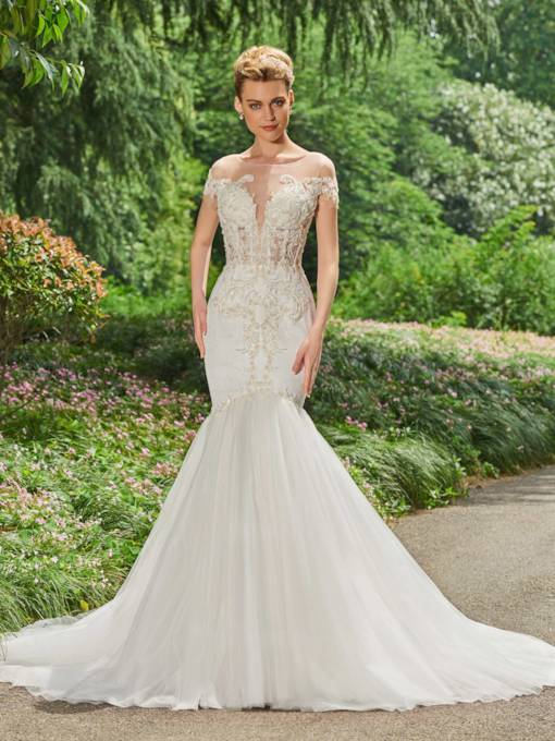 Sheer Neck Short Sleeves Appliques Beaded Wedding Dress
