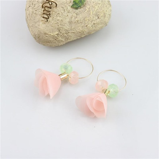 Korean Style Chiffon Roses Rhinestone Earrings