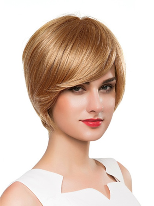 Short Bob Straight Human Hair Capless Wig 10 Inches
