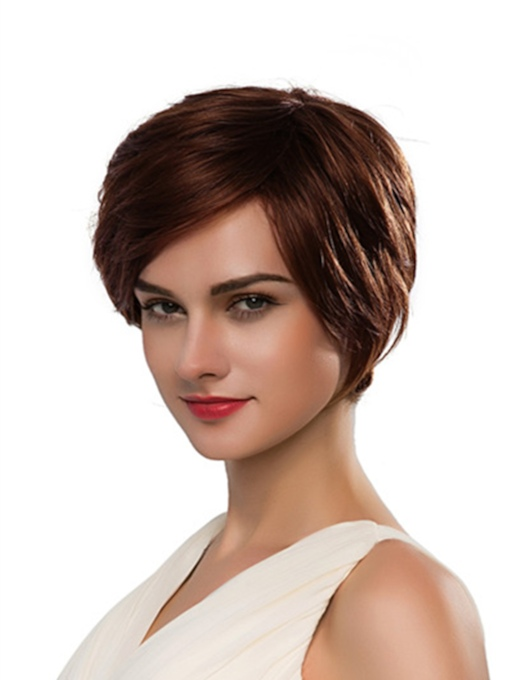 Short Side Part Straight Human Hair Capless Wig 10 Inches