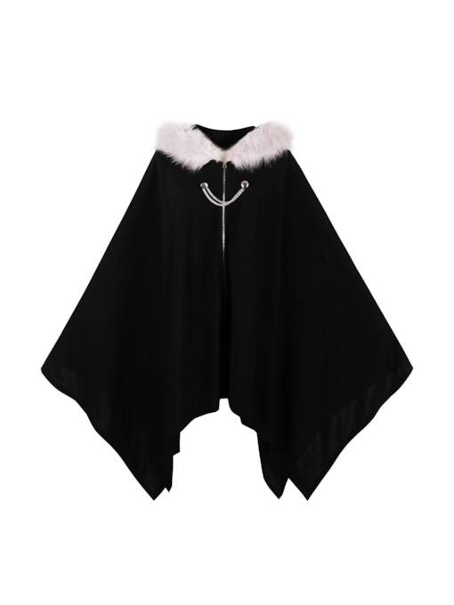 Halloween Faux Fur Collar Zipper Women's Cape