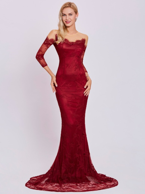 Sheer Neck Lace Mermaid Evening Dress with Sleeves