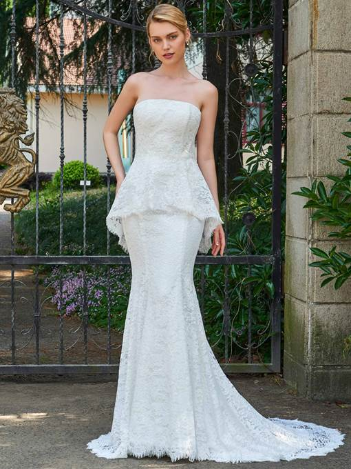 Strapless Lace Beading Court Train Mermaid Wedding Dress