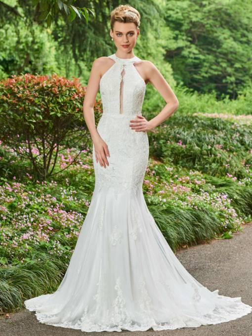 Halter Appliques Lace Mermaid Wedding Dress
