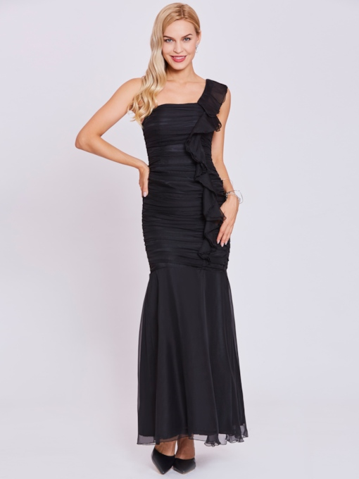 One Shoulder Ruffles Sheath Evening Dress