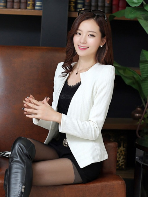Solid Color Buttons Elegant Women's Blazer