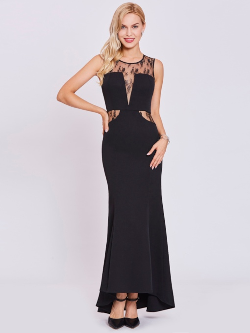 Scoop Neck Zipper-Up Lace Mermaid Evening Dress