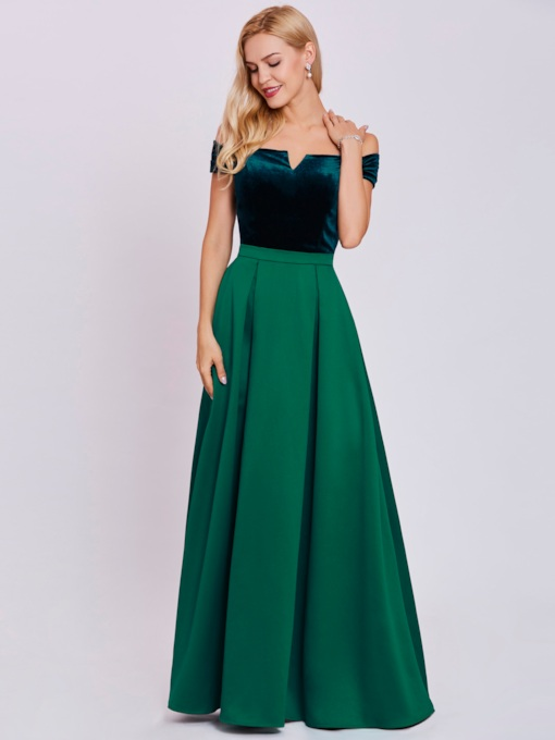 A-Line Off-the-Shoulder Sashes Floor-Length Evening Dress
