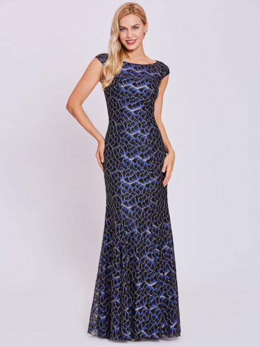Bateau Neck Lace Mermaid Evening Dress
