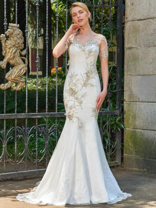 Short Sleeves Scoop Neck Beading Mermaid Wedding Dress