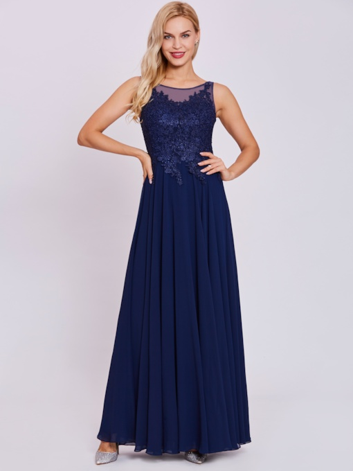 Scoop Lace Appliques A-Line Evening Dress