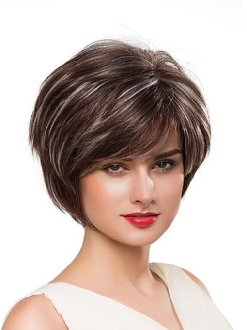 Loose Short Straight Human Hair Capless Wig 10 Inches